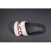 GC Stripe Rubber White Slide Sandal