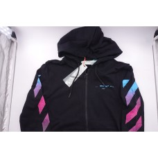 Off White Black Gradient Zipped Hoodie