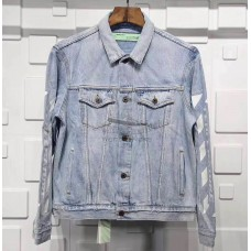 Off White Oversize Distressed Printed Denim Jacket