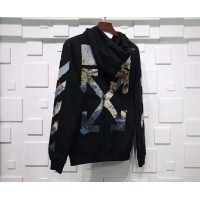 Off White Diag Multicolor Zipped Hoodie Black