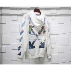 Off White Diag Multicolor Zipped Hoodie White