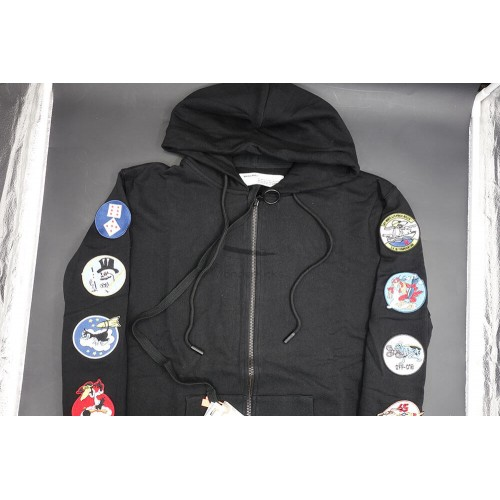 Off White Patches Zipped Hoodie