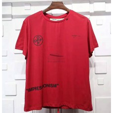Off White Stencil T shirt Red