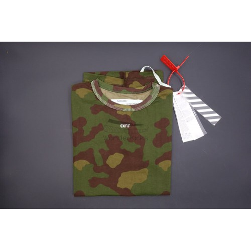 Off White Camouflage Cotton Tee