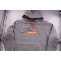 Supreme Box Logo FW17 Hooded Sweatshirt Heather Grey
