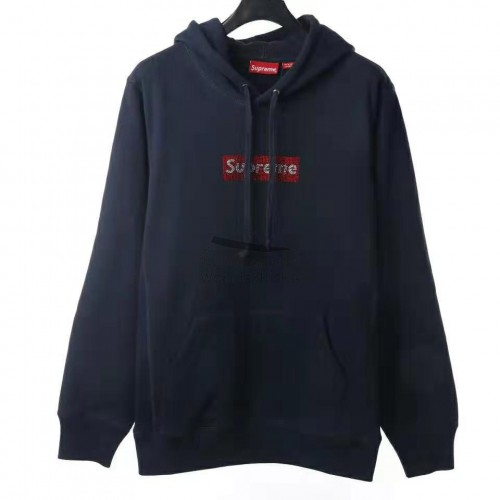 Supreme Swarovski Box Logo Hooded Sweatshirt Navy
