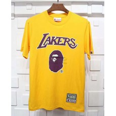 BAPE x Mitchell & Ness Lakers Tee Yellow